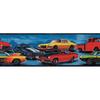 "allen + roth 6-7/8"" Blue Hot Rod Cars Prepasted Wallpaper Border"