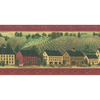 """allen + roth 10-1/4"""" Red Folk Country Scenic Prepasted Wallpaper Border"""