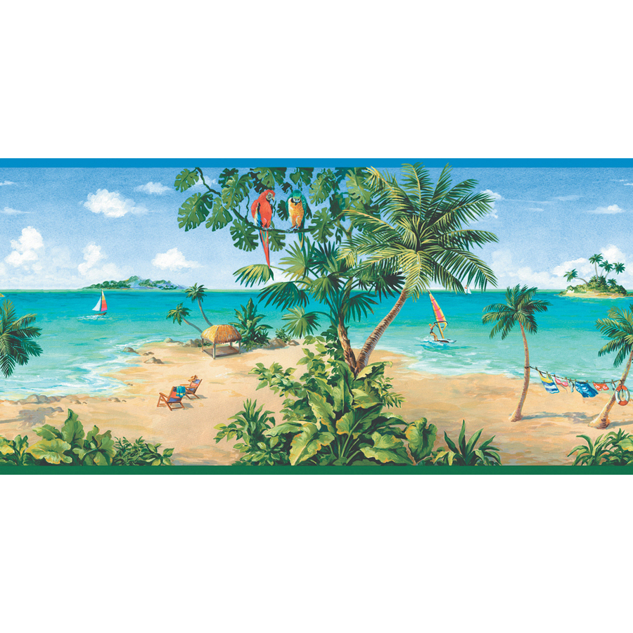 Shop allen roth 10 1 4 tropical beach scene prepasted for Wall scenes