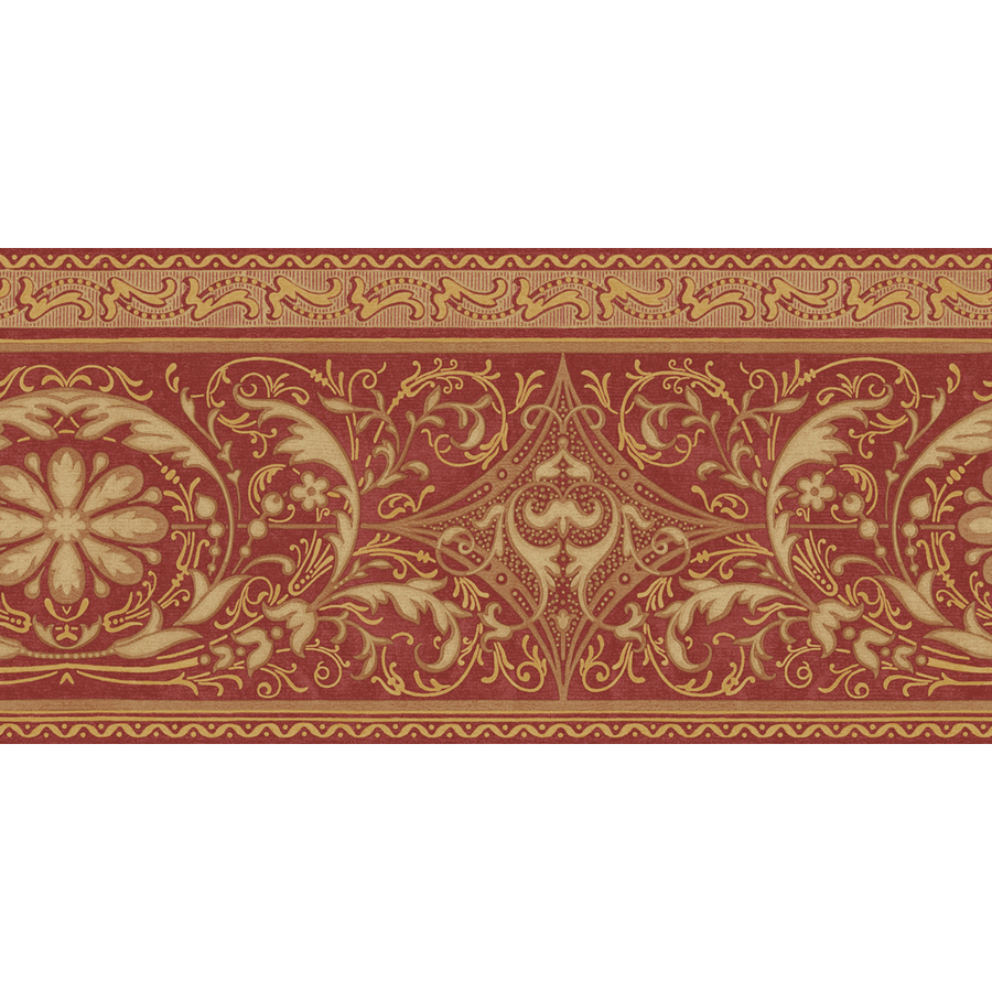 ... roth 10 1 4 red and gold filigree scroll prepasted wallpaper border