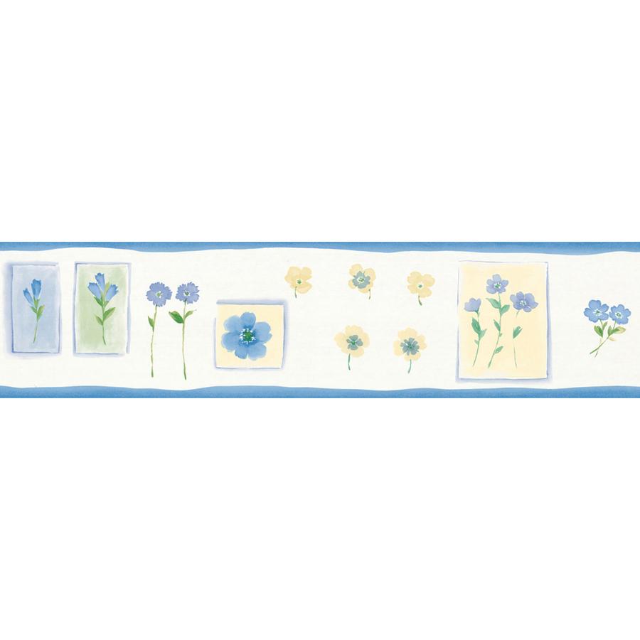 shop allen roth 5 1 8 blue delicate floral prepasted