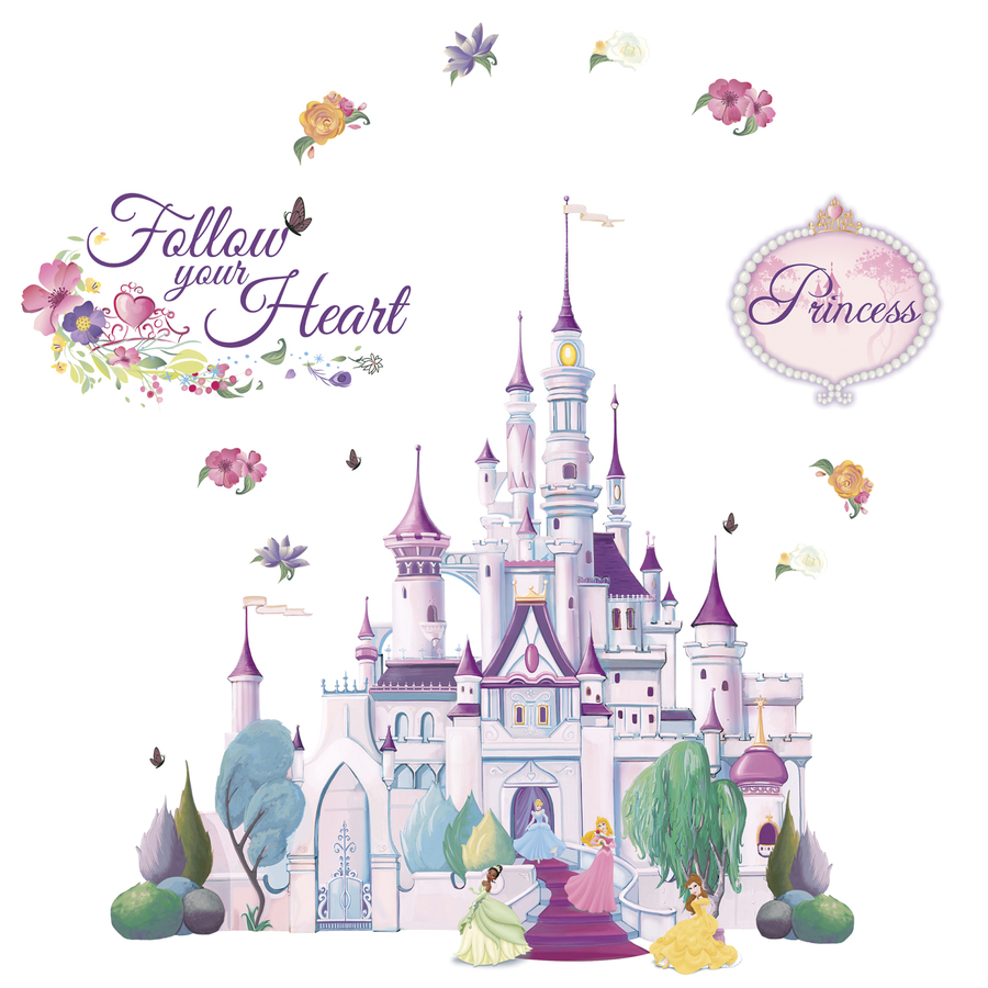 Shop disney princess castle mini mural at for Fairy princess mural