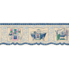 "allen + roth 6-3/4"" Blue Mosaic Bath Tub Prepasted Wallpaper Border"