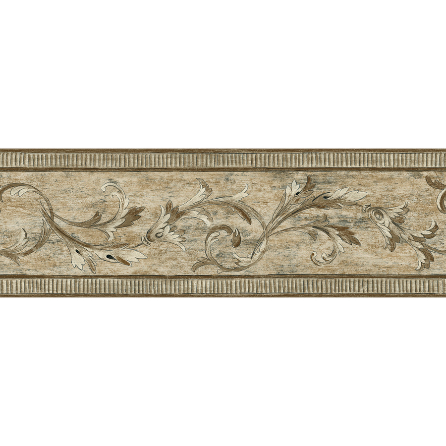 Shop allen roth 7 brown architectural scroll prepasted for Wallpaper borders