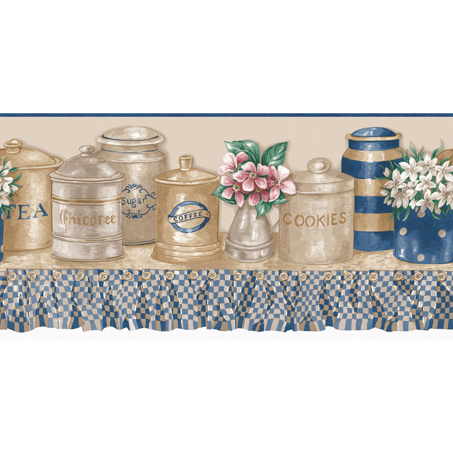 Blue And Beige Kitchen Jars Prepasted Wallpaper Border at Lowes com