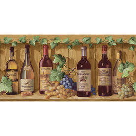allen + roth 10&#034; Jewel Tone Wine Bottles Prepasted Wallpaper Border
