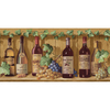 allen + roth&nbsp;10&#034; Jewel Tone Wine Bottles Prepasted Wallpaper Border