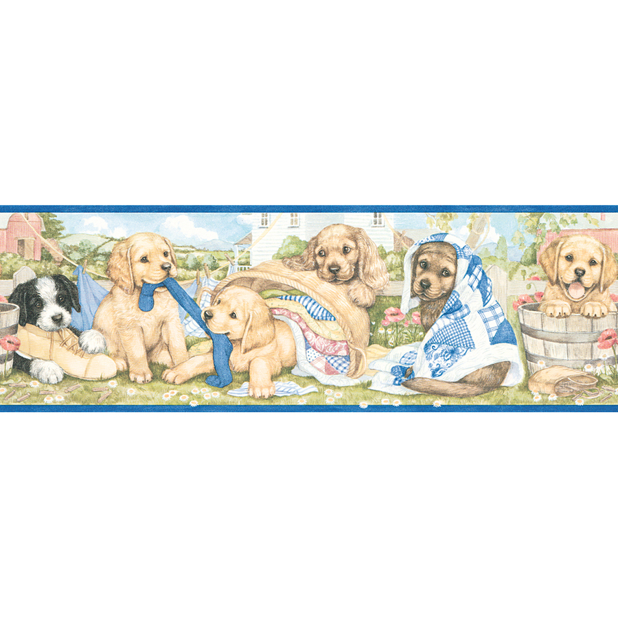... out zoom in allen roth 5 laundry puppies prepasted wallpaper border