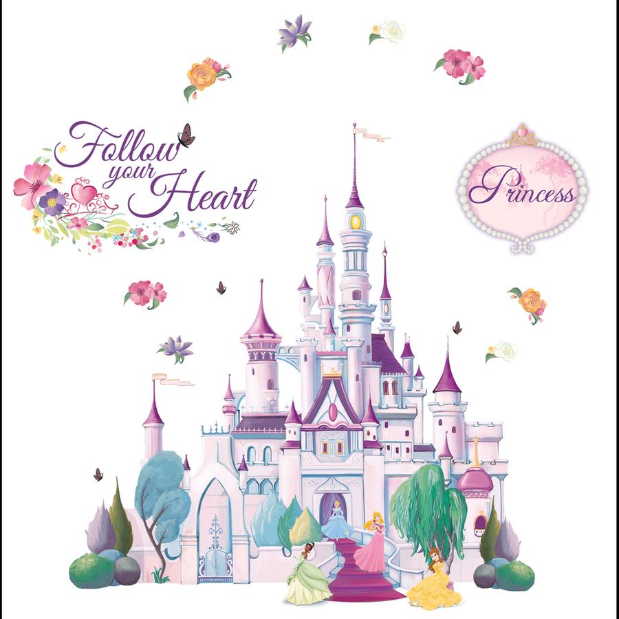 Princess castle mural for Disney castle mural wallpaper