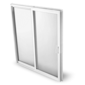 BetterBilt 570 Series 60-in Clear Glass White Aluminum Sliding Patio Door with Screen