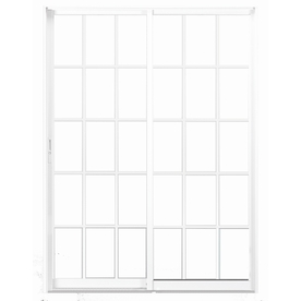 BetterBilt 72-in Tempered Grid Aluminum Sliding  Patio Door