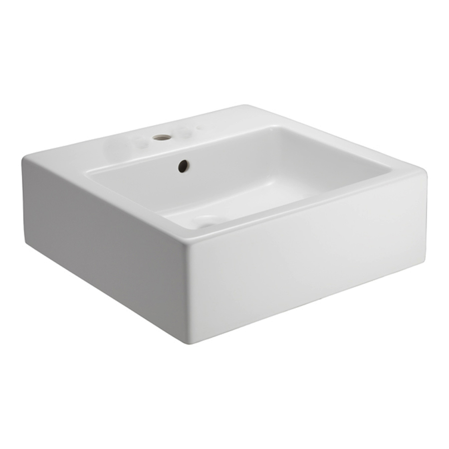 Above Counter Bathroom Sink : ... White Fire Clay Vessel Square Bathroom Sink with Overflow at Lowes.com