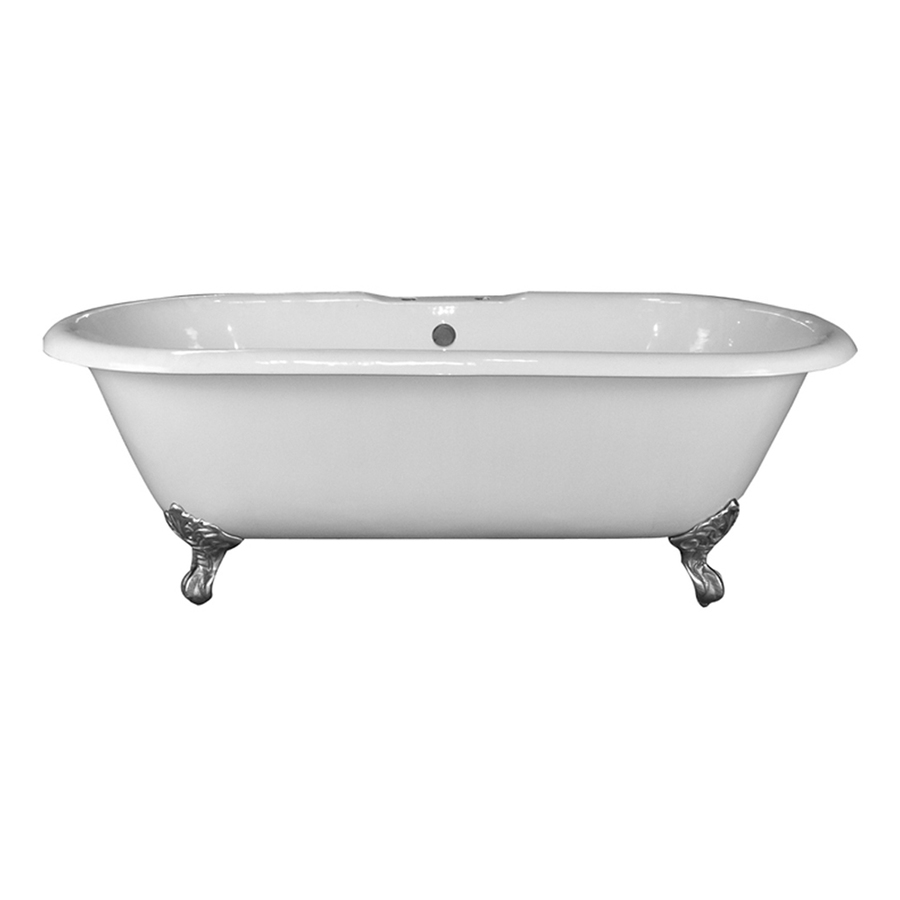 Shop Barclay White Cast Iron Oval Clawfoot Bathtub With Center Drain Common