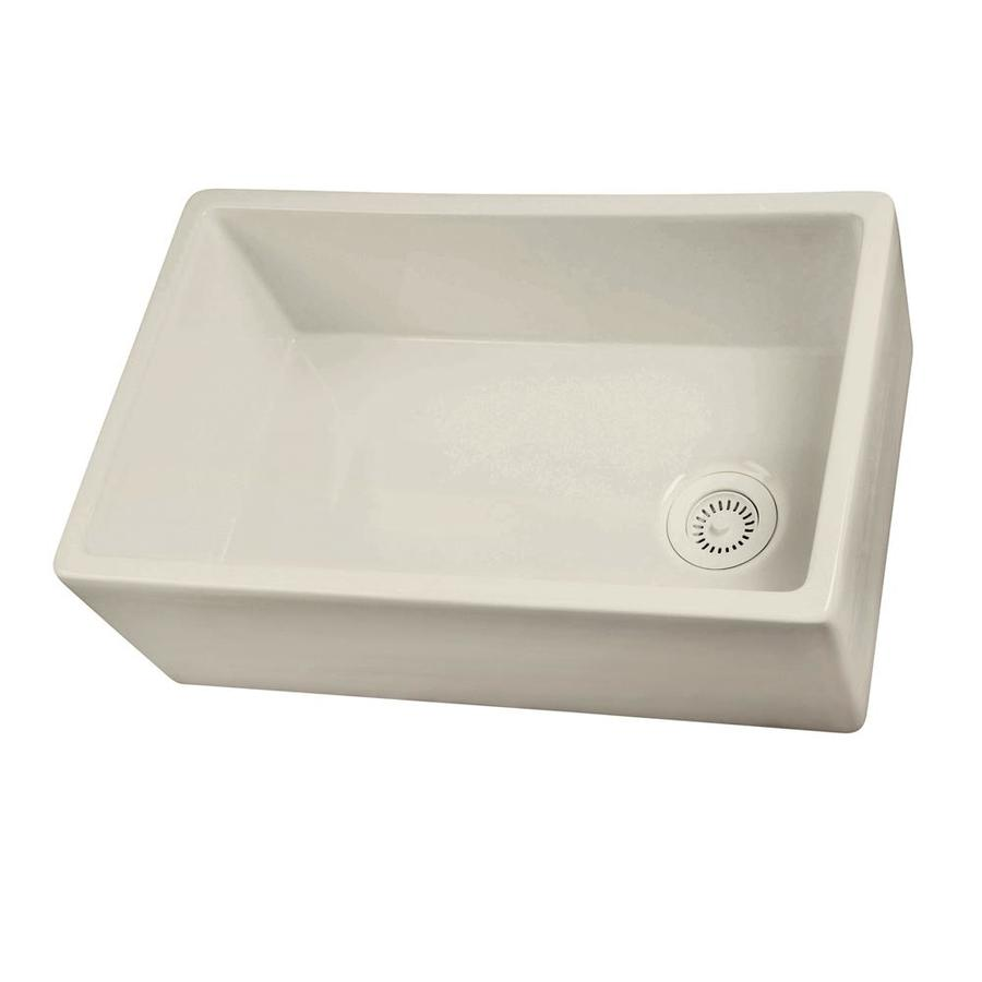 Shop barclay single basin apron front farmhouse fireclay kitchen sink at - Kitchen sinks apron front ...