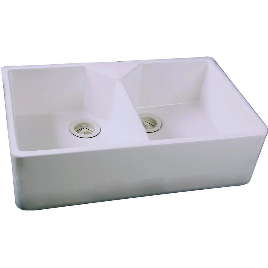 Shop barclay white double basin apron front farmhouse kitchen sink at - Kitchen sinks apron front ...