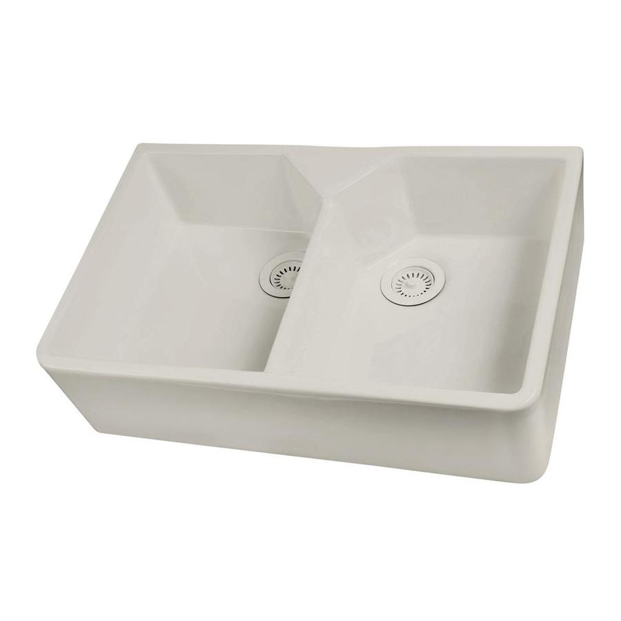 Double Basin Farmhouse Sink : Shop Barclay Double-Basin Apron front/Farmhouse Fireclay Kitchen Sink ...