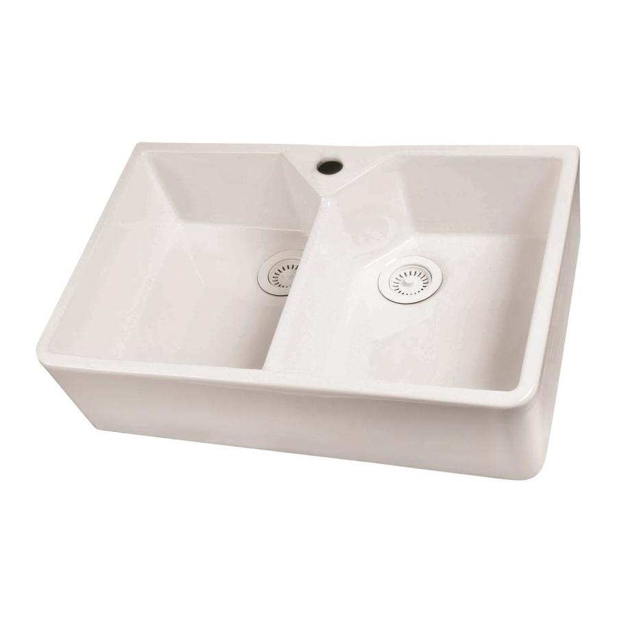 Fireclay Apron Front Sink : Double-Basin Apron front/Farmhouse Fireclay Kitchen Sink at Lowes.com
