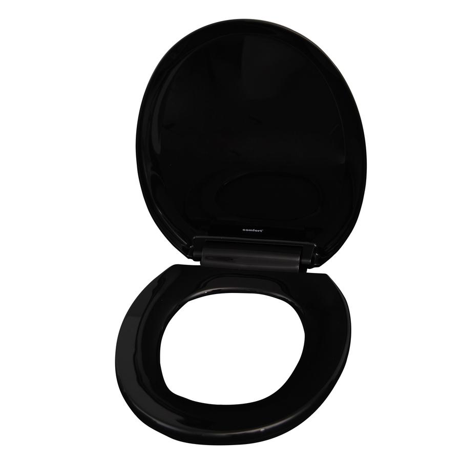 Shop Barclay Black Plastic Round Slow Close Toilet Seat At