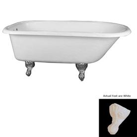 barclay white acrylic oval clawfoot bathtub with back center drain