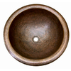 Barclay Hammered Antique Copper Drop-In Round Bathroom Sink with Overflow