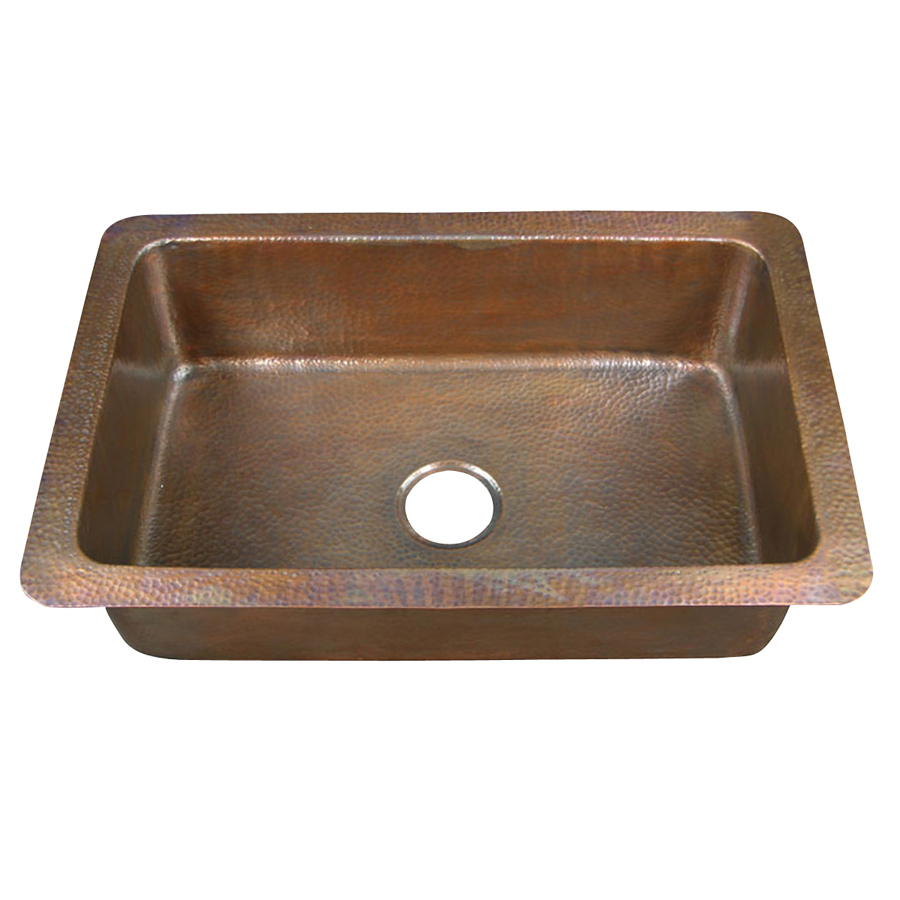 Shop barclay hammered antique copper single basin drop in - Copper drop in kitchen sink ...