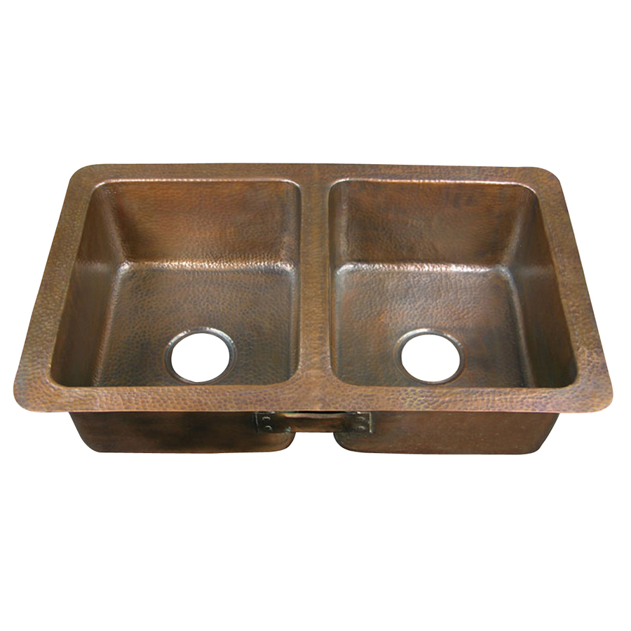 Drop In Kitchen Sinks Double Bowl : ... out zoom in barclay 16 gauge double basin drop in copper kitchen sink