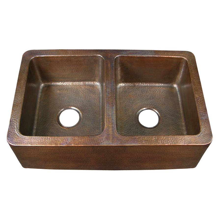 Copper Double Basin Apron Front Farmhouse Kitchen Sink at Lowes com