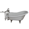 Barclay Acrylic Oval Clawfoot Bathtub with Back Center Drain (Common: 30-in x 60-in; Actual: 31-in x 30-in x 60-in)