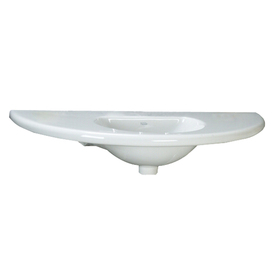 Barclay White Fire Clay Wall-Mount Oval Bathroom Sink with Overflow