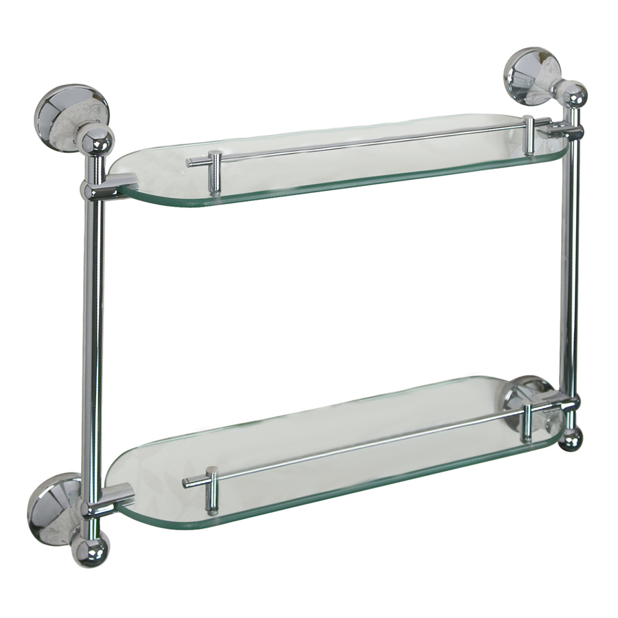 Shop barclay kendall 2 tier glass bathroom shelf at for Bathroom glass shelves