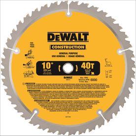 DEWALT Construction 10-in 40-Tooth Segmented Carbide Circular Saw Blade