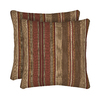 allen + roth 2-Pack Chili Stripe Square Throw Outdoor Decorative Pillow