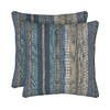 allen + roth 2-Pack Blue Stripe Square Throw Outdoor Decorative Pillow