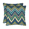 Garden Treasures 2-Pack Blue Flame Stitch Geometric Square Throw Outdoor Decorative Pillow