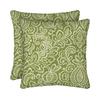Garden Treasures 2-Pack Green Stencil Paisley Square Throw Outdoor Decorative Pillow