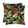 Garden Treasures 2-Pack Sanibel Black Tropical Square Throw Outdoor Decorative Pillow