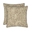 Garden Treasures 2-Pack Neutral Stencil Paisley Square Throw Outdoor Decorative Pillow