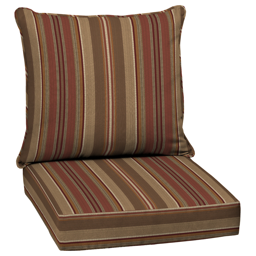 Shop Allen Roth Stripe Chili Deep Seat Patio Chair Cushion At