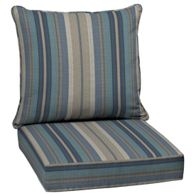 Allen   roth Stripe Blue Glenlee Stripe Deep Seat Patio Chair Cushion for  Deep Seat ChairShop Patio Furniture Cushions at Lowes com. Royal Blue Outdoor Seat Cushions. Home Design Ideas