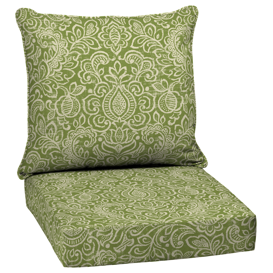 treasures green stencil deep seat patio chair cushion at