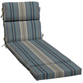 Shop allen roth stripe blue patio chaise lounge cushion for Allen roth steel patio chaise lounge