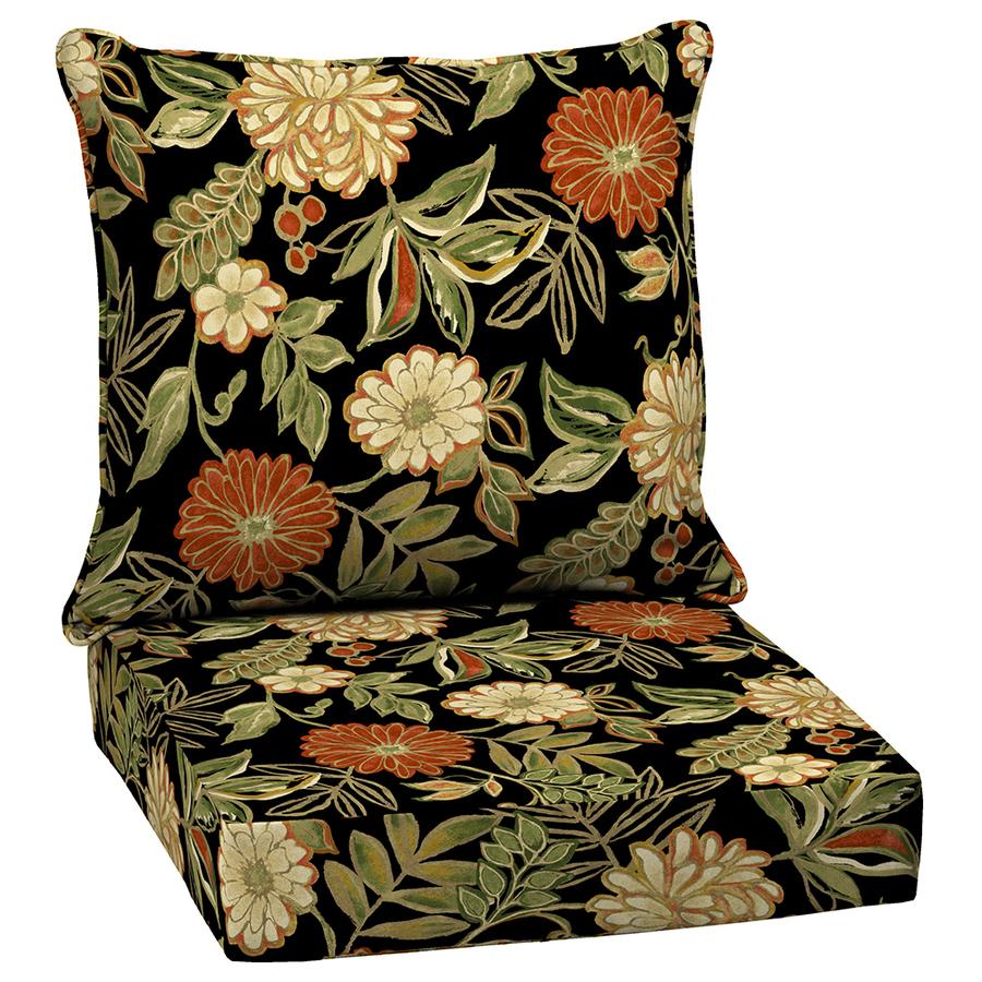 shop arden outdoor floral black seat patio chair