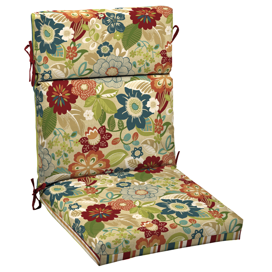 Shop garden treasures bloomery patio chair cushion at for Garden furniture cushions