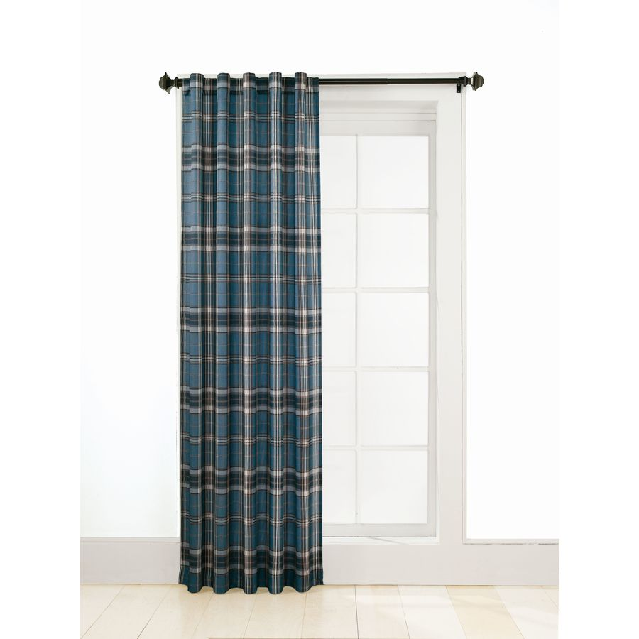 Shop Style Selections Adrian Plaid 63 In L Plaid Blue Back Tab Curtain Panel At