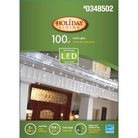 Holiday Living 100-Count LED Dome White Christmas Icicle String Lights ENERGY STAR