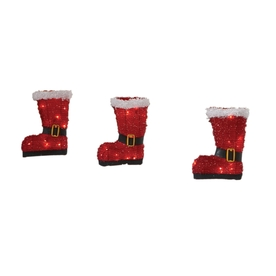Holiday Living 3-Pack 10-in 36-Light Soft Tinsel Santa Boots Twinkling Christmas Pathway Markers
