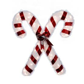 Holiday Living 3-ft Fabric White Scroll Christmas Candy Canes with 70-Count Clear Lights