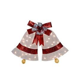 Holiday Living 36-in Fabric White Scroll Christmas Bells with 50 Lights