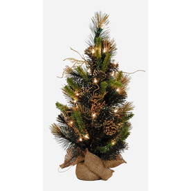 Holiday Living 2-ft Indoor Pine Pre-Lit Artificial Christmas Tree with Clear Incandescent Lights