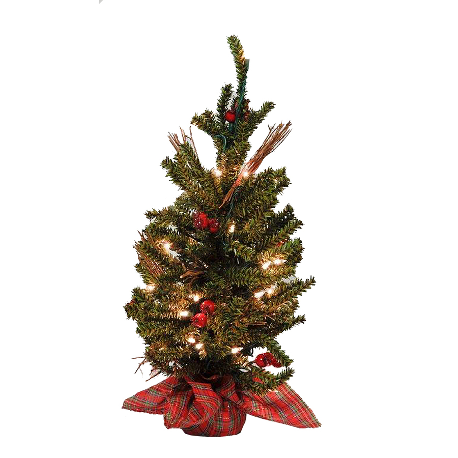 Shop holiday living 2 ft indoor pine pre lit artificial christmas tree